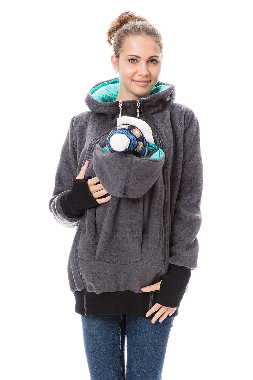 GoFuture Damen Tragejacke für Mama und Baby 4in1 Känguru Jacke Umstandsjacke Fleece mit Hochkragen HALLA GF2307