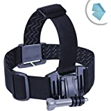Action Cam Head Strap Action Mount with J Hook and Tripod Adapter by USA Gear - Works With Kodak PIXPRO SP1 , Vivitar Full HD Action Camera , Ricoh WG-M1 Black Waterproof Action Video Camera & More