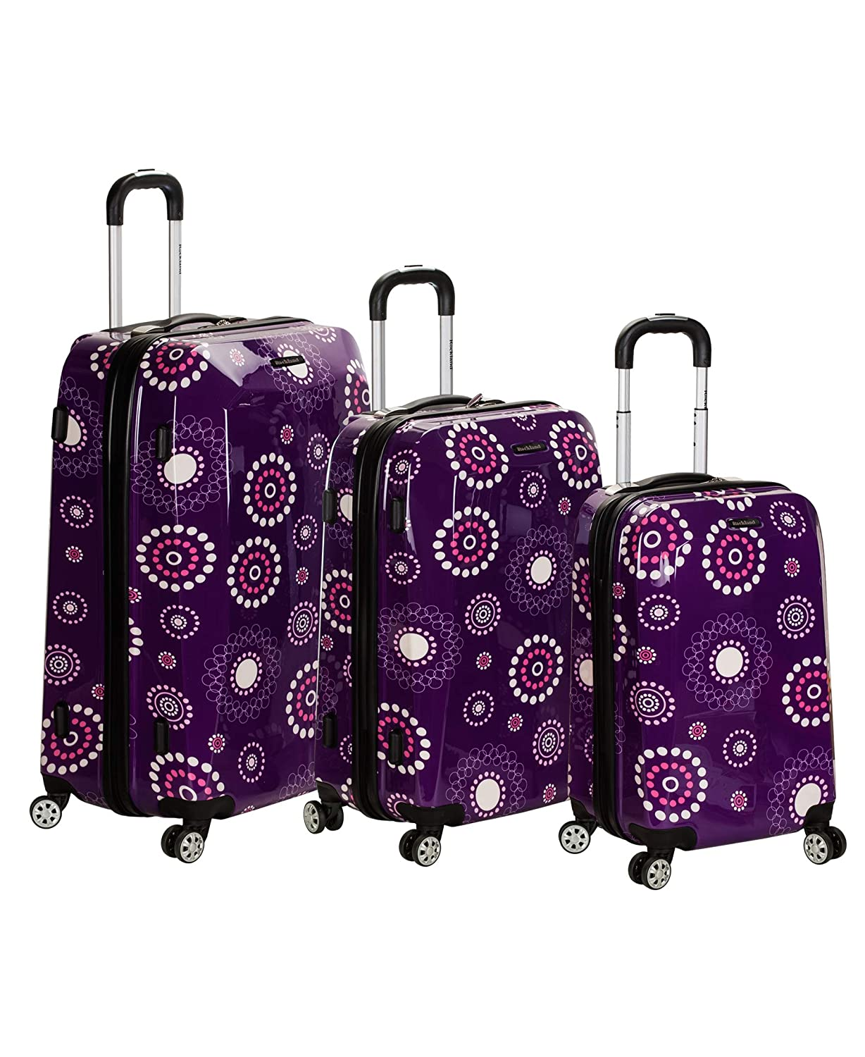 Pink Pearl 3-Piece One Size Rockland F150 Vision Polycarbonate Luggage Set