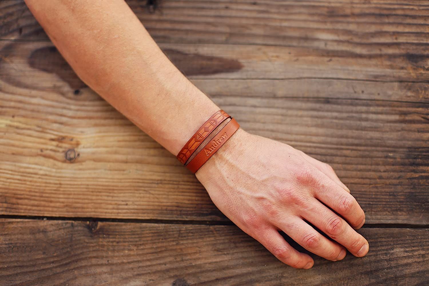 Brown embossed leather bracelet choice of shades