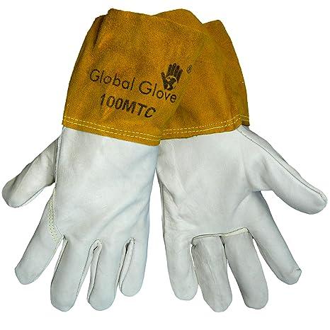 Mundial guante 100 MTC vaca grano Kevlar cosido MIG TIG soldador guantes, trabajo (caso