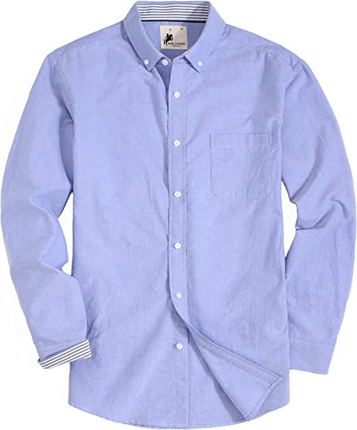 Men s Long Sleeve Solid Dress Shirt Regular Fit Button Up Size S M L XL 2XL New