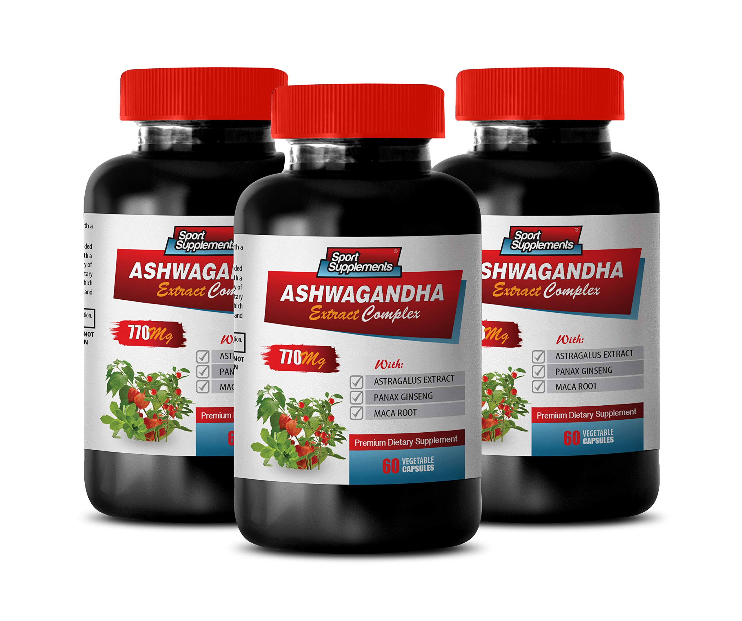 Immune Support Detox - ASHWAGANDHA Extract Complex - Premium Dietary Supplements - ashwagandha Non GMO - 3 Bottles 180 Capsules