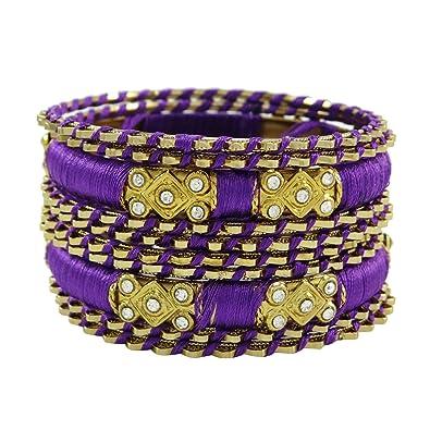 7ffceba7125c Banithani hilo de seda dorado brazaletes envueltos bisutería indio 2   10   Amazon.es  Joyería