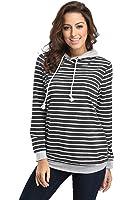 FanShou Women Long Sleeve Striped Hoodie Side Zipper Hooded Sweatshirt Pullover