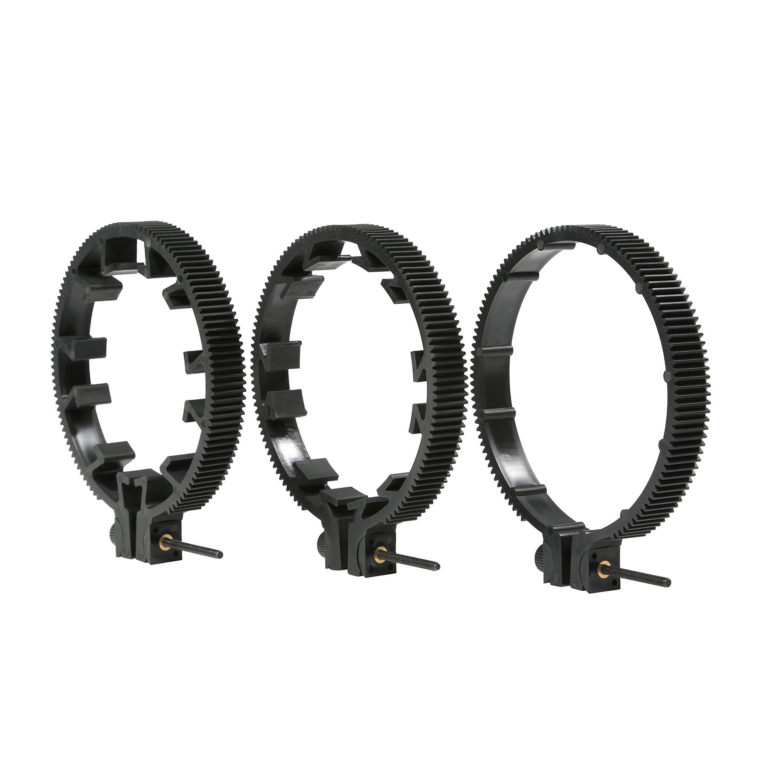 Movo FR3 Adjustable 3-Piece Follow Focus Ring Gear Set - Includes 65mm, 75mm and 85mm Lens Rings (Standard 32 Pitch - 0.8 mod) by Movo