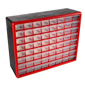 Storage Drawers-64 Compartment Organizer Desktop or Wall Mountable Container for Hardware, Parts, Craft Supplies, Beads, Jewelry, and More by Stalwart