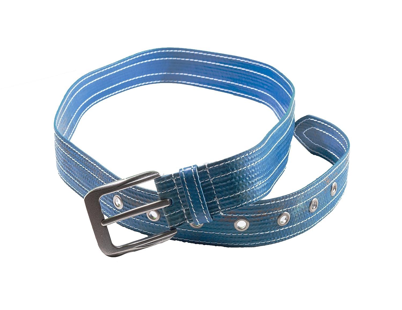 Landfill Dzine Sustainable Agriculture hose belt Blue w//white stitching med-lrg