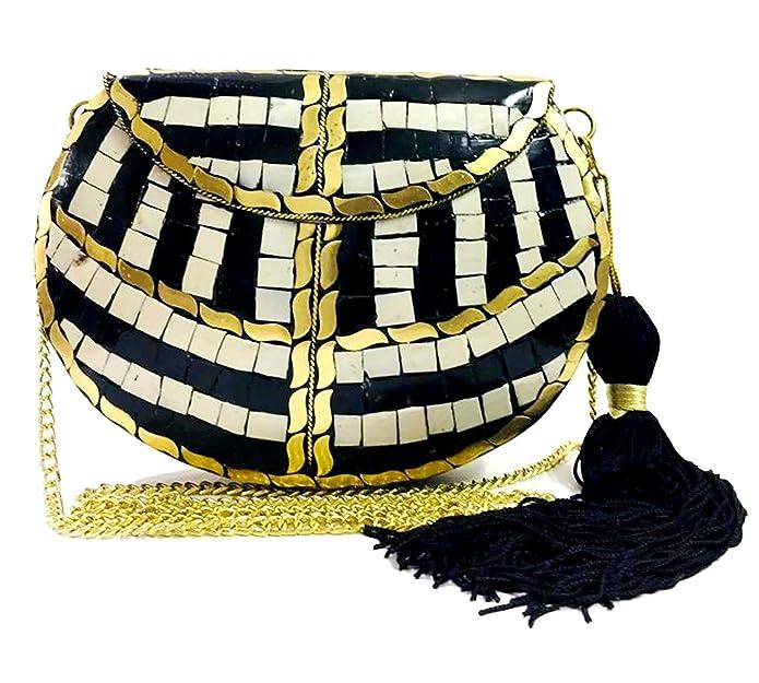Vintage Handbags, Purses, Bags *New* Black Women/Girls Bridal clutch party sling bag mosaic metal bag antique ethnic clutch Indian antique purse party clutch tassel bag $25.00 AT vintagedancer.com