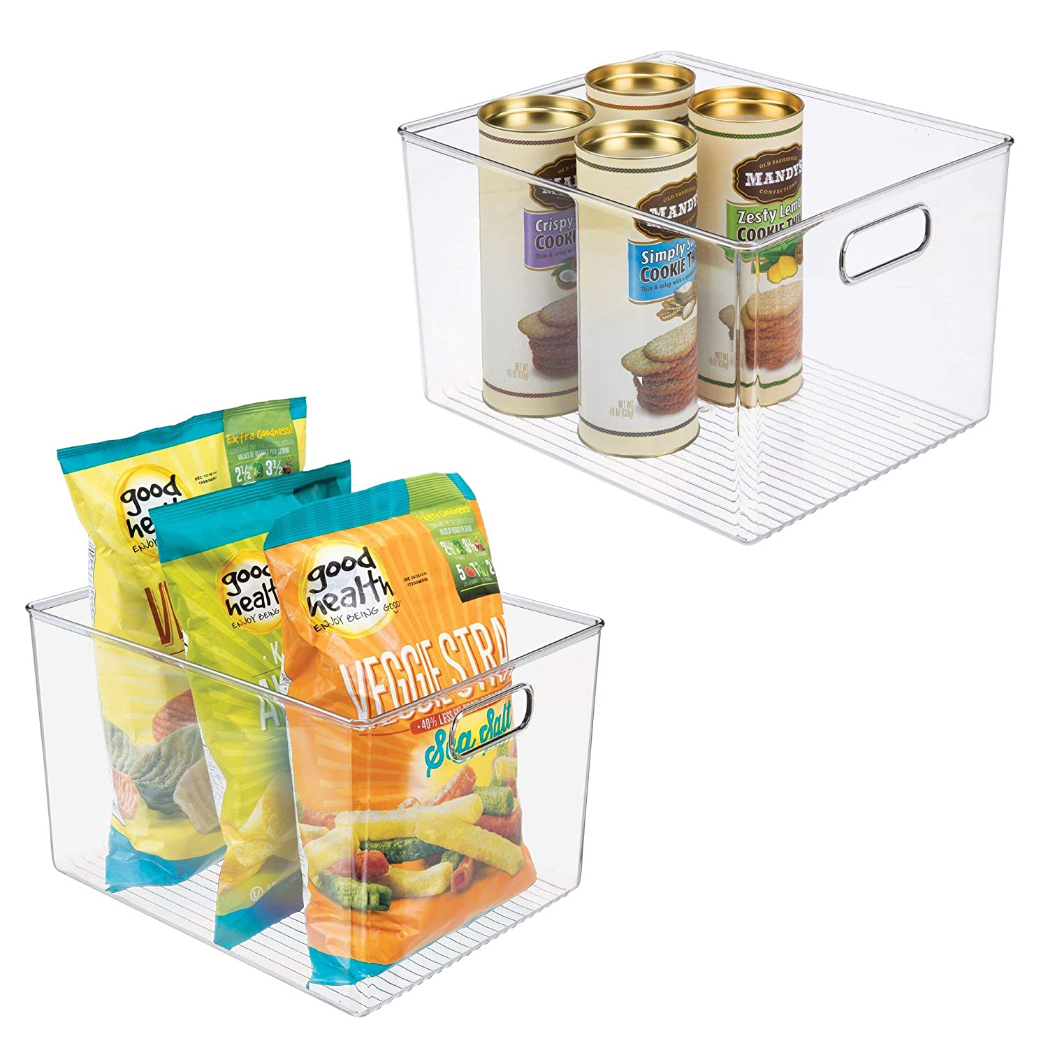 mDesign Plastic Storage Organizer Container Bins Holders with Handles - for Kitchen, Pantry, Cabinet, Fridge/Freezer - Large for Organizing Snacks, Produce, Vegetables, Pasta Food - 2 Pack - Clear