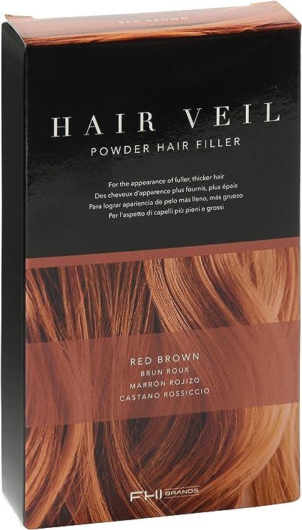 FHI Cosmeticos Hair Veil, Polvo de Relleno de Raíces, 4 gr, Color Marrón Rojizo