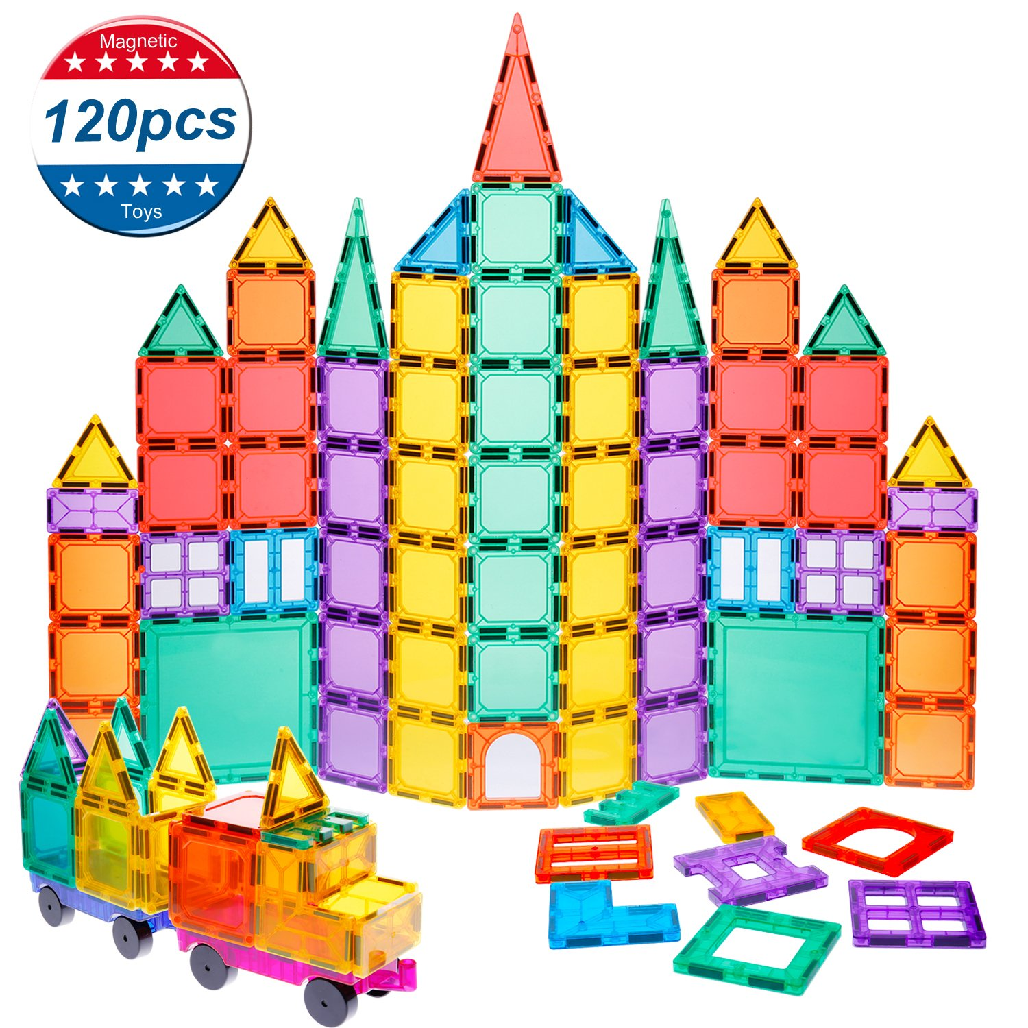 Magnet Building Tiles Kids Magnet Toys ,120 Pcs Magnet Blocks 3D Magnetic Building Tiles Set with 2 Wheels, Educational Toys for Kids Children Review
