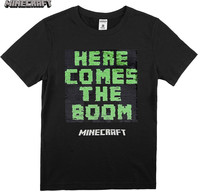 Regali Maglietta Gamer per Bambini Minecraft T-Shirt Paillettes Reversibili T-Shirt Nero 100/% Cotone Motivo Creeper di Paillettes Bidirezionale Maglietta A Maniche Corta per Ragazzi