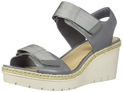 6befd4067862b CLARKS New Women s Palm Shine Wedge Sandal Grey Leather 6.5