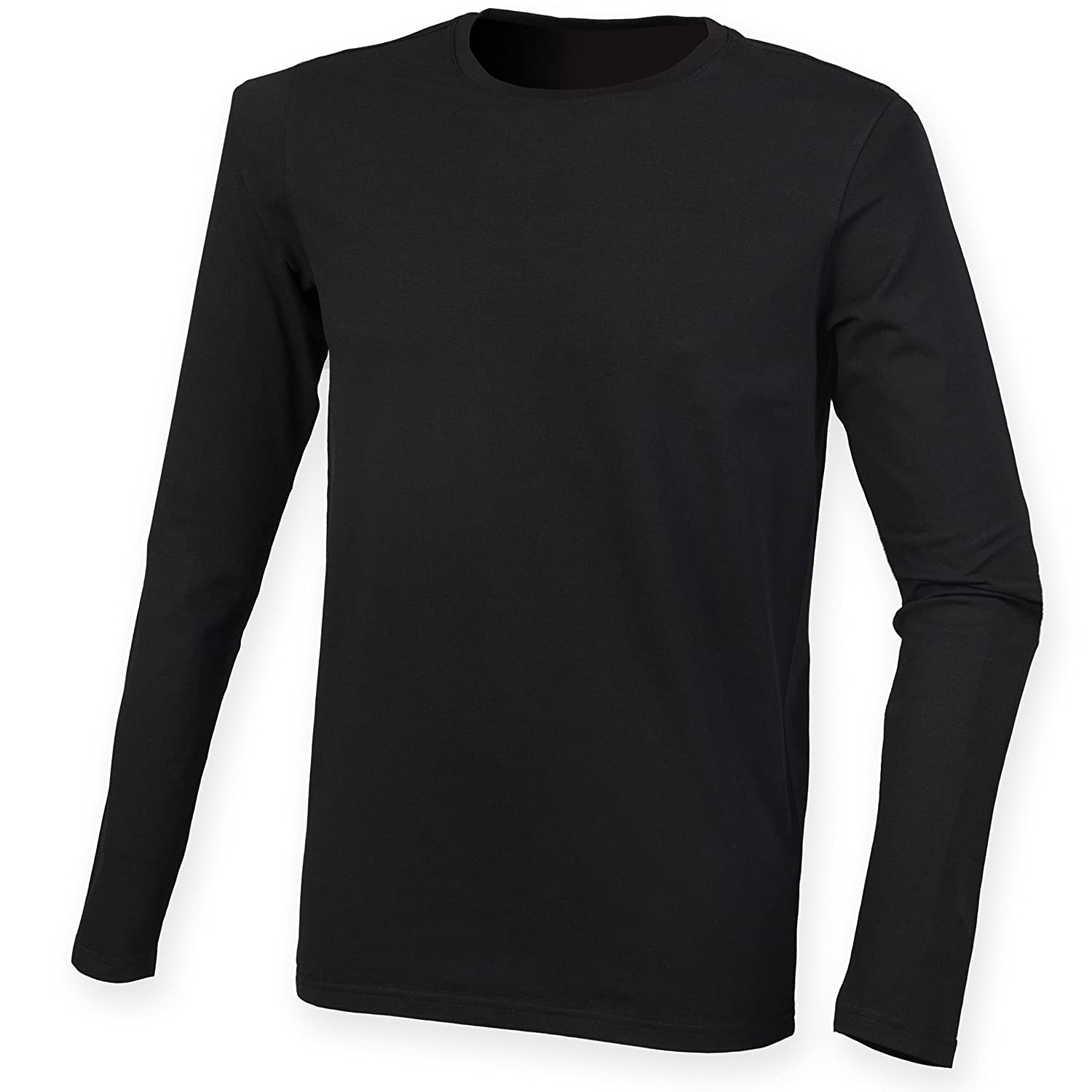 Skinni Fit Skinnifit Men's Long Sleeved Stretch T-Shirt SF124:  Amazon.co.uk: Clothing