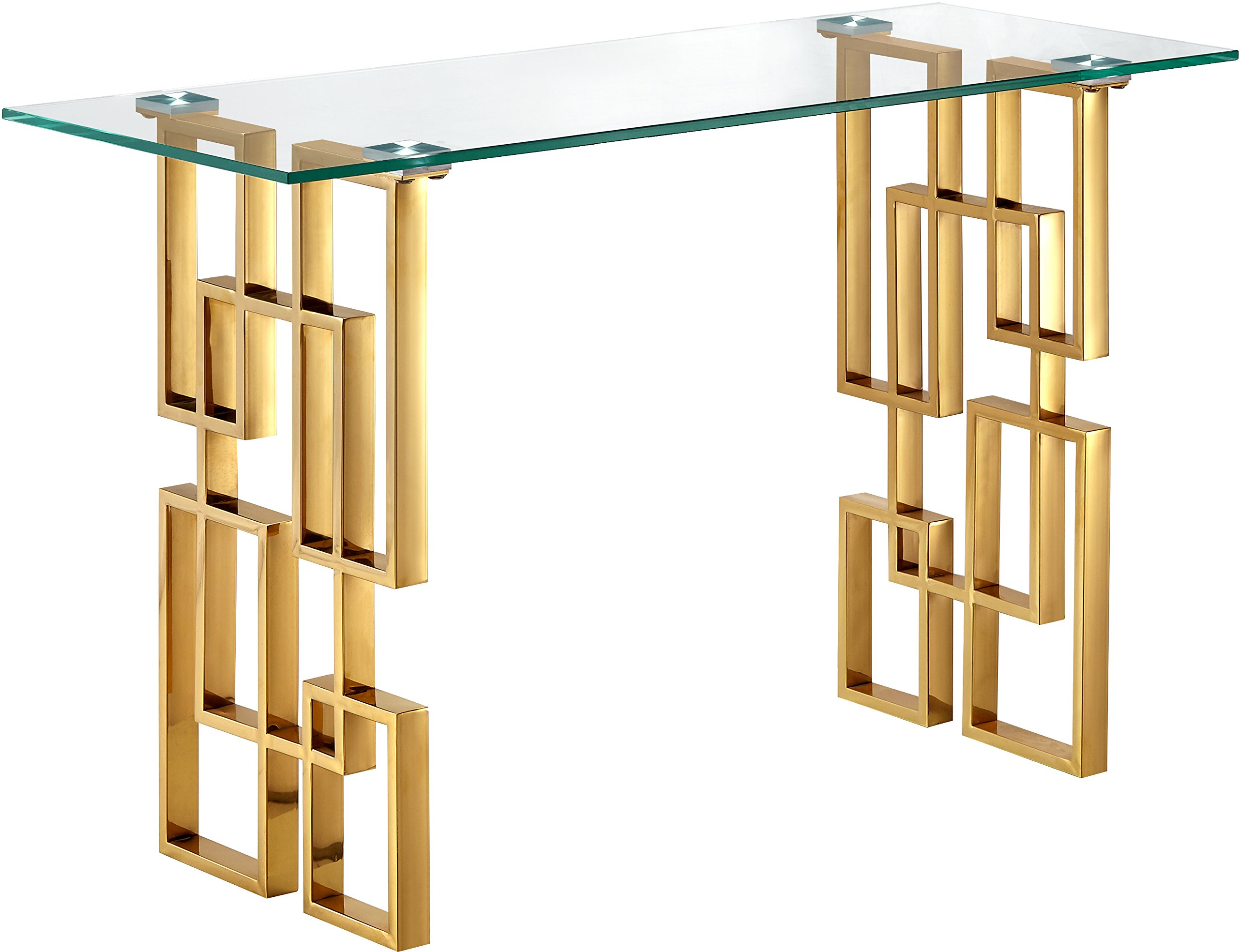 Meridian Furniture Pierre Collection Modern | Contemporary Square Glass Console Table with Stainless Steel Base and Rich Gold Finish, 32'' W x 28'' D x 27.5'' H, by Meridian Furniture