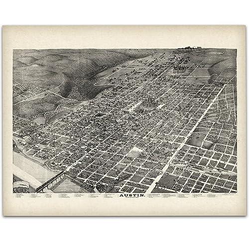 Amazon.com: 1887 Austin Texas Panoramic Map - 11x14 Unframed Art ...