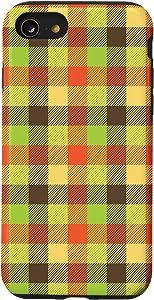 iPhone SE (2020) / 7 / 8 Buffalo Plaid Orange Pattern-Fall Decor Rustic Thanksgiving Case