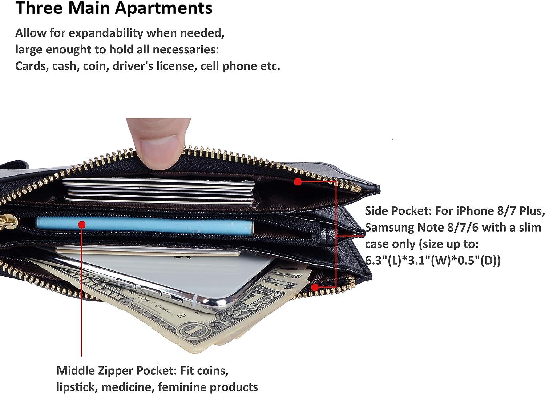 Befen Womens Leather Wristlet Clutch Cell Phone Wallet Multi Card Organizer Wallet Purse