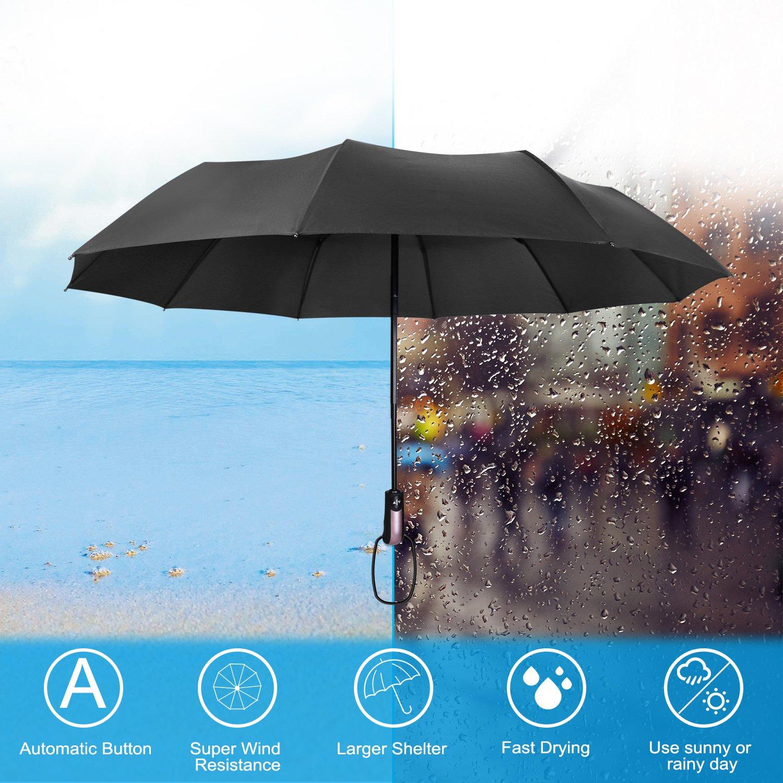 Umbrella,Proking Windproof Umbrella(60 MPH) Travel Umbrella Compact Automatic Open and Close Umbrella Unbreakable 10 Ribs Golf Umbrellas One Handed Operation with Lightweight Umbrella(Black)