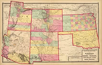 Map Of Arizona Utah And Colorado.Amazon Com Map Poster Kansas And Arizona Colorado New Mexico