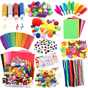 Arts and Crafts Supplies for Kids Craft Art Supply Kit for Toddlers Age 4 5 6 7 8 9 All in One DIY Pipe Cleaners Crafting College Arts Set Bucket for Kids Girls with Storage Box