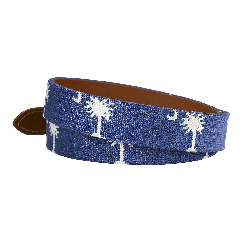 Charleston Belt Carolina Crescent Palmetto Hand-stitched Needlepoint Belt