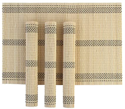 HOKIPO Wooden Dinner Table Kitchen Placemats Set, 4 Piece Set