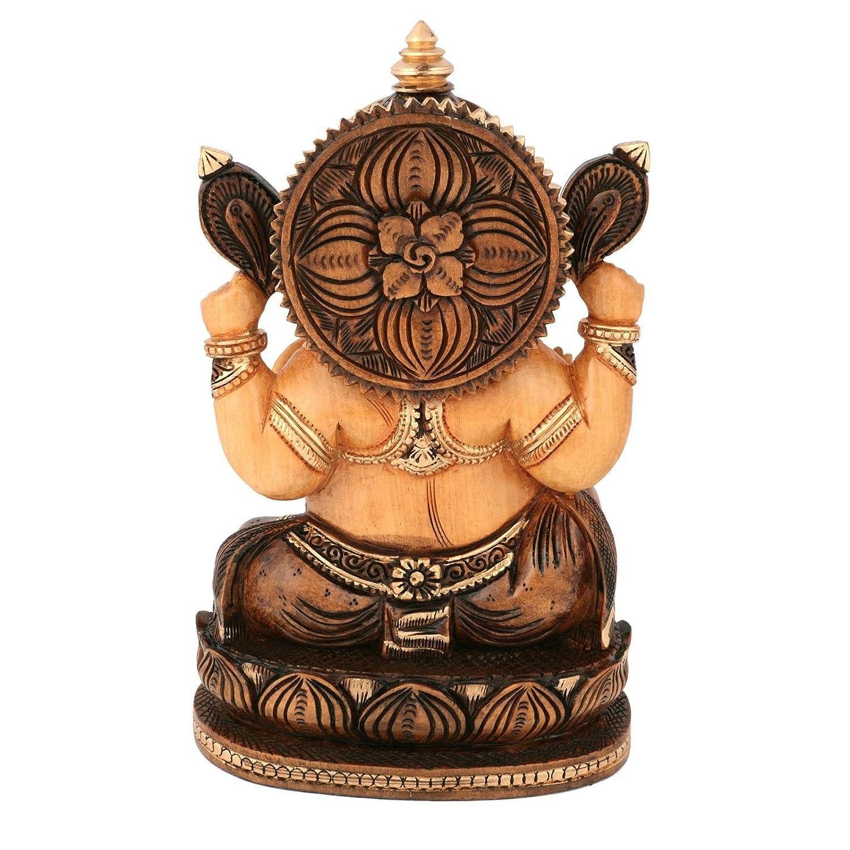 Idol fatto a mano in legno dipinto Ganesha regalo India Largel Dio Ganesh statue/ /Smalto oro mano elefante work