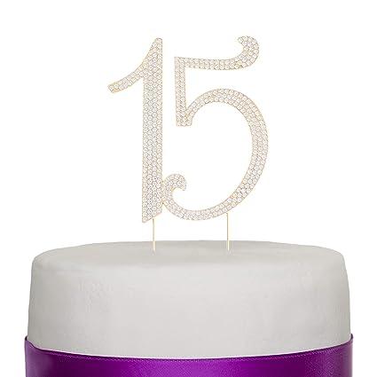 Ella Celebration 15 Cake Topper Gold Quinceanera 15th Birthday Crystal Rhinestone Metal Party Supplies Decoration
