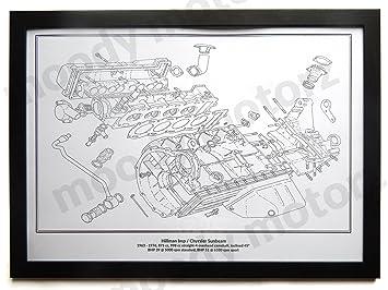 Hillman Imp Classic Motor Diagramm Schematische A2 A3 Größe Hand ...