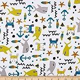 Fabric Merchants Cotton Spandex Jersey Knit Sealife White/Multi