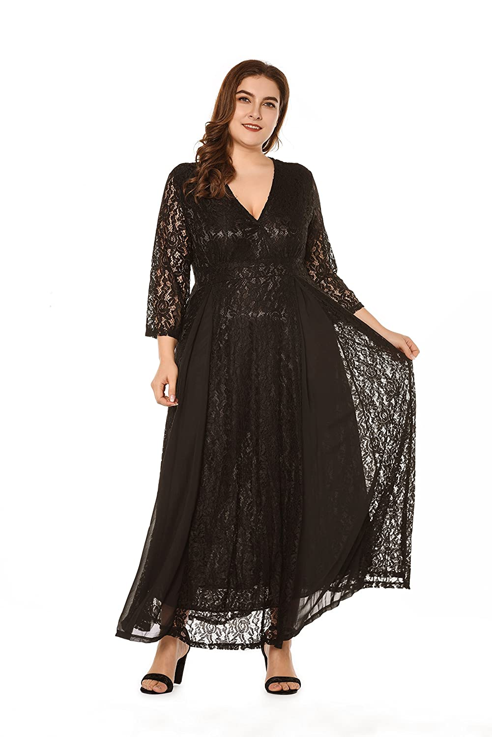 1950s Plus Size Dresses, Swing Dresses YISIBIA Womens Plus Size Vintage Floral Lace Dress High Waist Party Wedding Flowy Maxi Dresses $30.99 AT vintagedancer.com