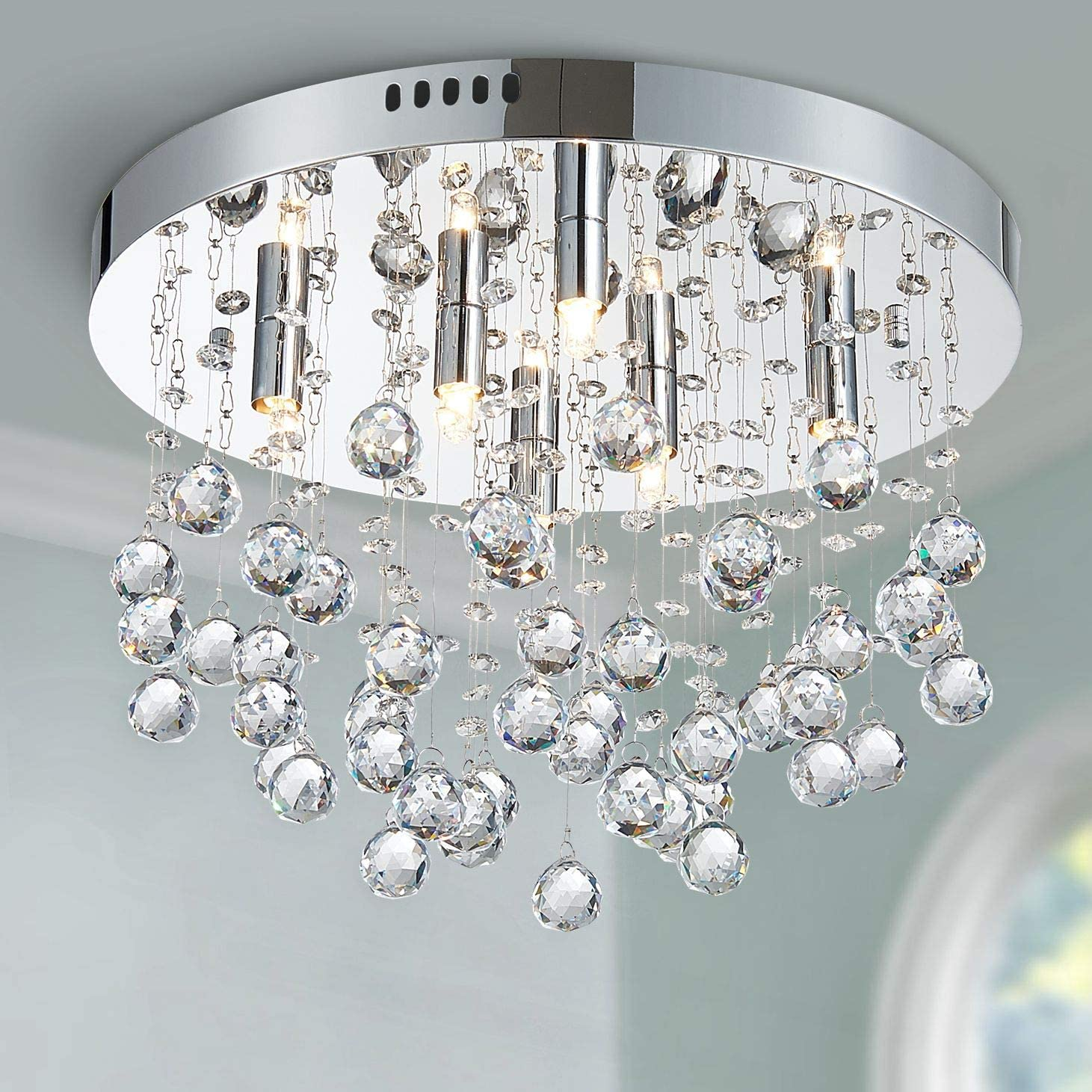 Bestier Modern Crystal Round Raindrop Chandelier Lighting Flush Mount LED Ceiling Light Fixture Pendant Lamp for Dining Room Bathroom Bedroom Livingroom 6 G9 Bulbs Required 15 in Wide 9.8 inch High