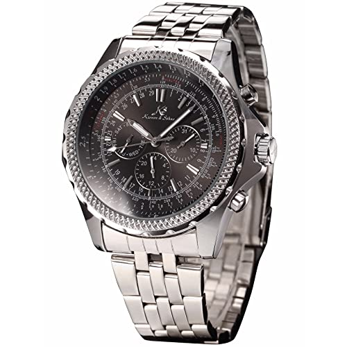 KS Men's Mechanical Automatic Wrist Watch with Silver Stainless Steel Strap Sport Watches for Men Black Big Face KS140