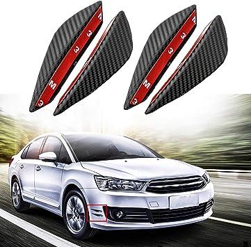 Car Side Wing Spoilers 4Pcs//Set Universal Carbon Fiber Front Bumber Side Fin