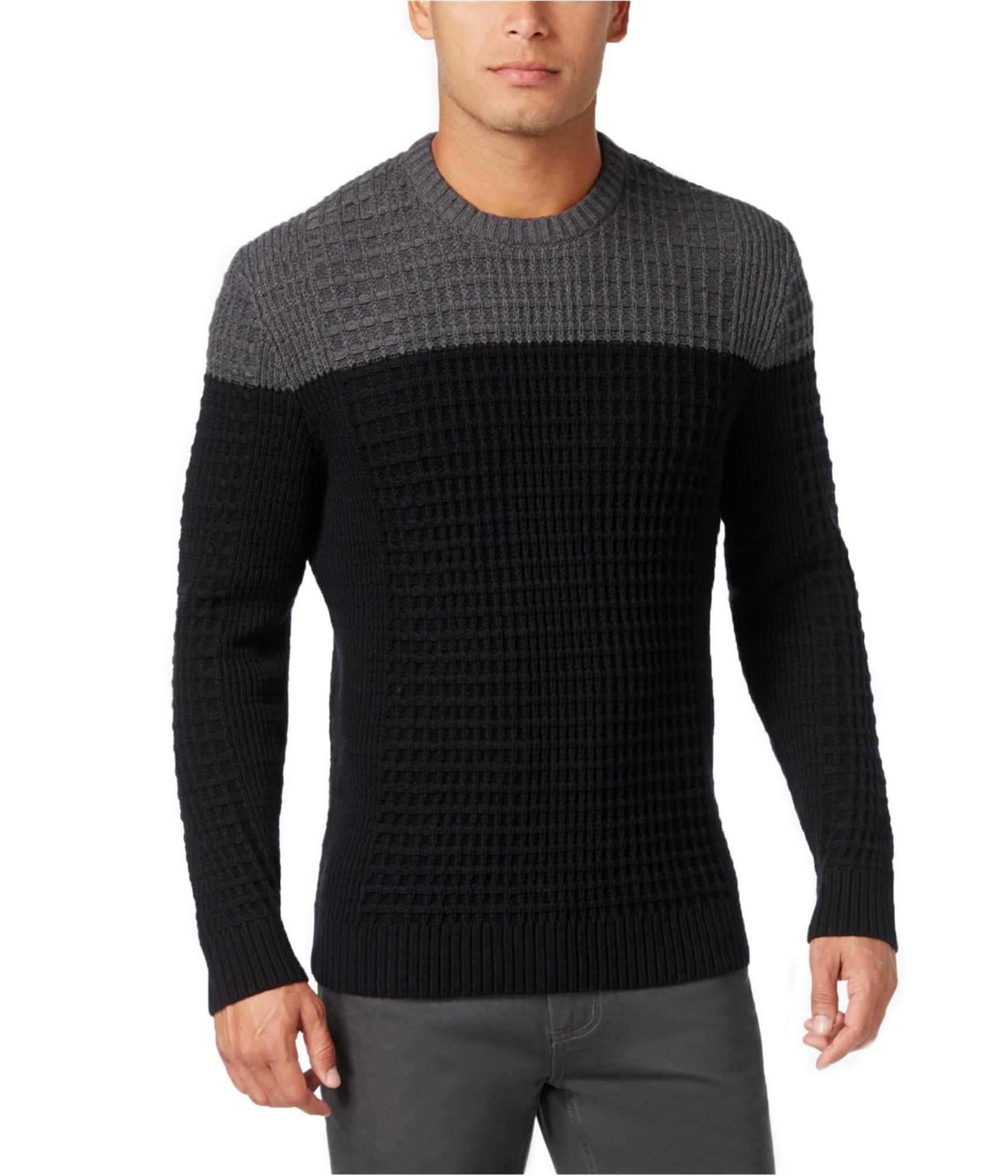 Alfani Mens Textured Polo Sweater Black LT - Big & Tall