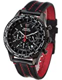 DETOMASO Firenze Men's Quartz Watch with Black Dial Chronograph Display and Black Leather Bracelet Sl1624C-Bk1