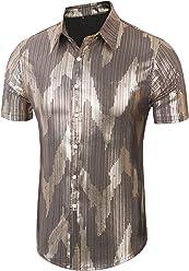 c1db2b040 Daupanzees Mens Dress Shirt Short Sleeve Fashion Sequins Luxury Design 70s  Disco Shirt Party Costume