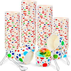 100 Paper Ice Cream Cups Yogurt Dessert Bowls and 100 Matching Reusable Plastic Spoons Rainbow Polka Dots Party Supplies