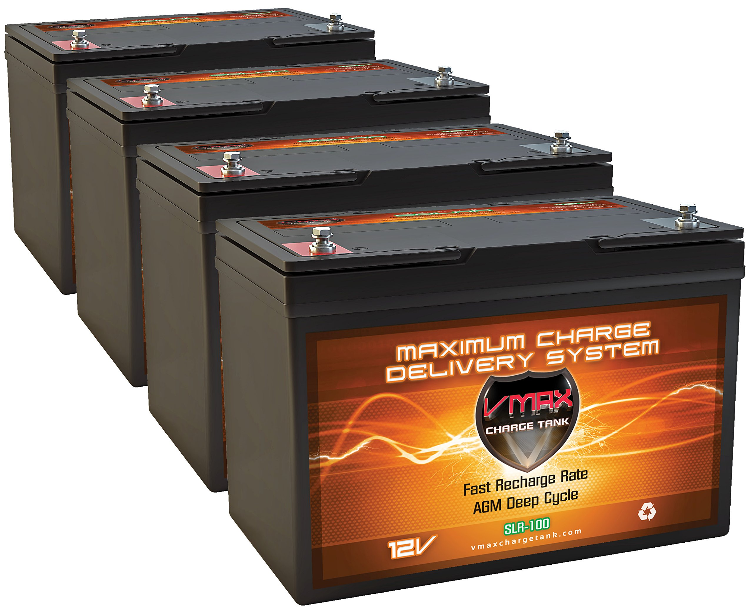 QTY4 VMAX SLR100 AGM deep cycle SLA battery 12 Volt 100Ah ea.(400Ah total) Maintenance free sealed batteries for Use with PV Solar Panels, wind turbine, UPS backup generator or smart charger for off grid sump pump lift winch pallet jack and any other heav by VMAX Solar