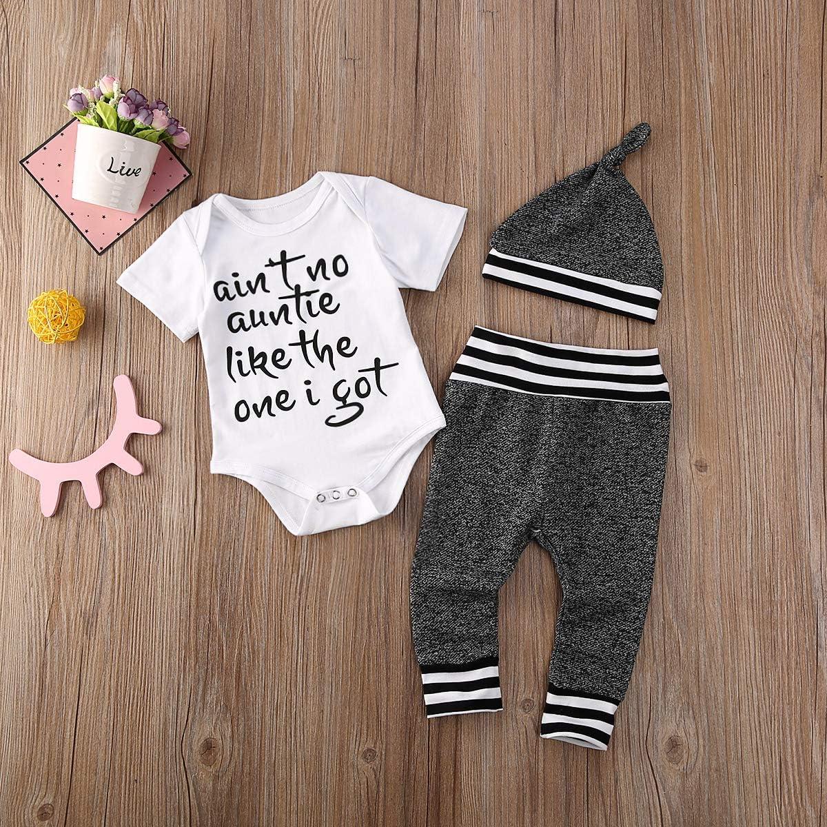 UK Newborn Baby Boy Unisex Kid Pure White Top Pants Hat Cotton Clothes Set 0-24M