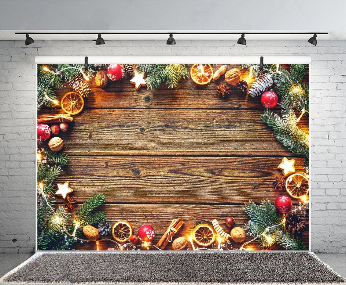 leyiyi 10 x 8ft写真バックドロップ背景ヴィンテージ木製ボードMerry Christmas Happy New Year Pine Branchレッドベリーライトナットレモンツリー装飾壁紙フォトPortraitビニールStudioビデオProp   B07FD7V4XH
