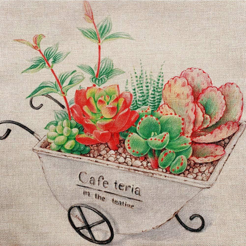 Poyee Throw Pillow Covers-Retro Design Succulent Theme Cotton Linen Decorative Square Home Decor Gift Design Cushion Case for Living Room Sofa Bedroom Car 18x18 Inch 45x45 cm