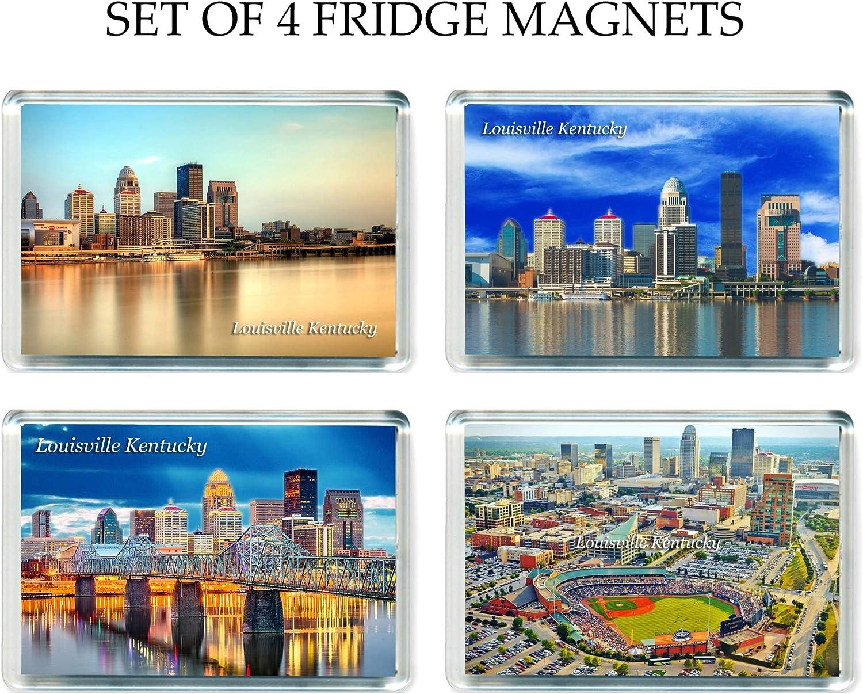 US043 Set of 4 Louisville Kentucky Jumbo Refrigerator Magnets USA America United States Travel Fridge Magnets