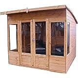 8x8 Shiplap Wooden Helios Garden Summerhouse - Curved Roof, Double Doors & Felt Included - By Waltons