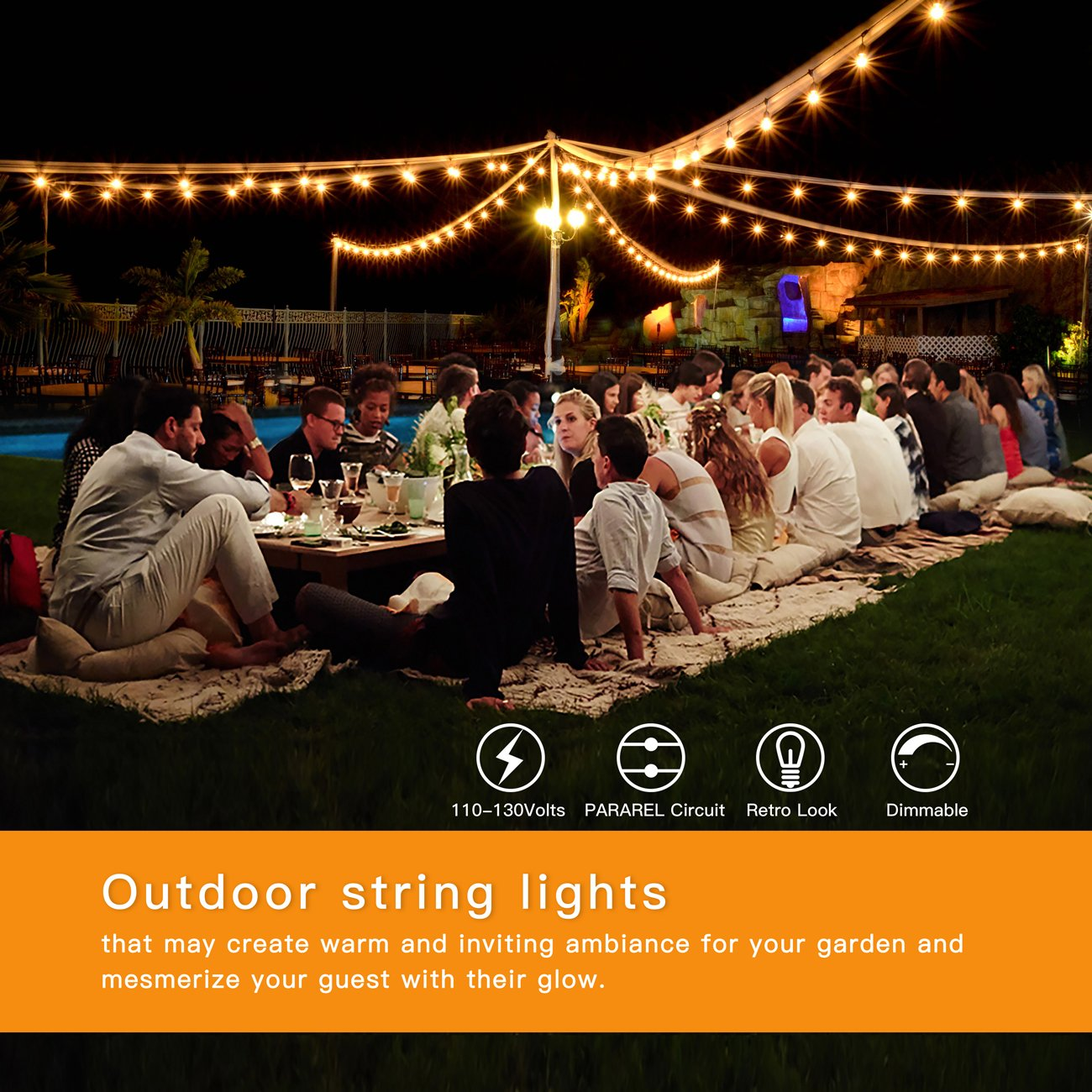 2-Pack 48Ft Heavy Duty Outdoor Patio String lights, Edison Vintage Dimmable 11S14 Bulbs w/ Hanging Sockets, Commercial Grade Weatherproof Market Cafe Lights for Bistro Backyard Pergola Party, Blk by SHINE HAI (Image #6)