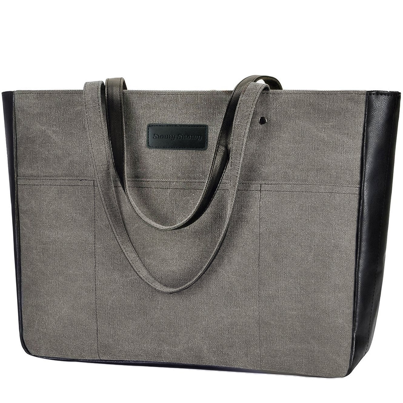Laptop Tote Bag, Women 15-15.6 Inch Laptop Bag for Work, Lightweight Canvas Tote Bag Office Briefcase SS8031black