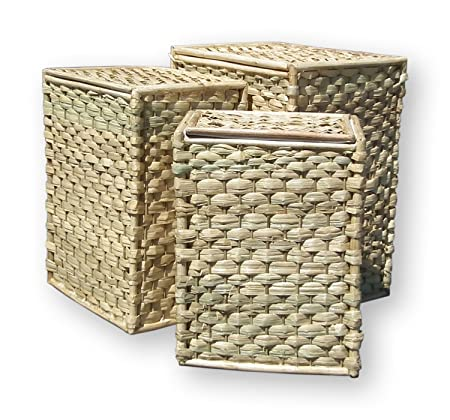 4c506c8eccf6 Set of 3 Lidded Sea Grass Laundry Baskets White Fabric Lined Rectangular w   Lid  Amazon.co.uk  Kitchen   Home