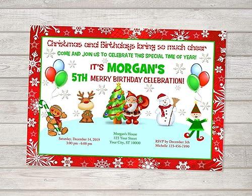 Amazoncom Christmas Birthday Party Invitation Reindeer